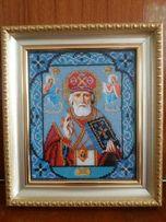 Картина из чешского бисера, в рамке со стеклом - Николай Чудотворец