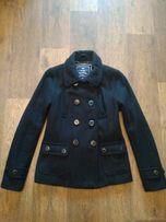 Короткое чёрное шерстяное пальто М разм