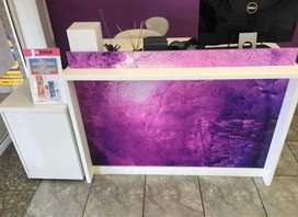 Reception table and nail station