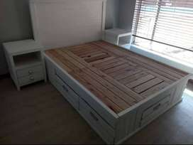 Double bed (including mattress)+ two bedside tables and chest of draw