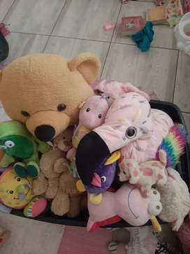 Crate of soft toys