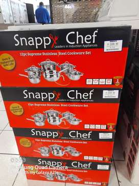 Snappy chef 12pc stainless steel cookware set