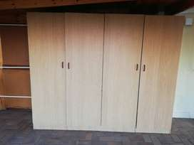 STORAGE 2 x brown laminate cupboards for office or kitchen