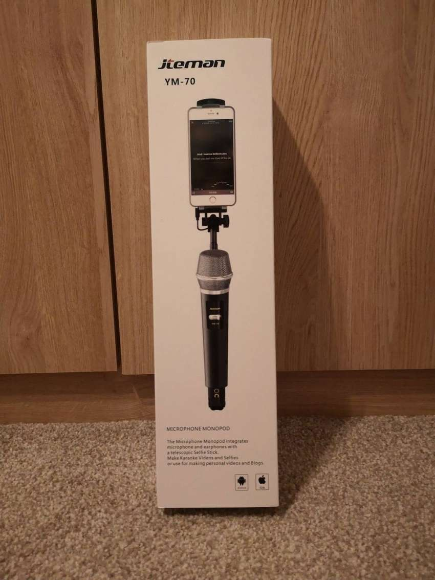vlogging microphone with phone holder microphone monopod 0