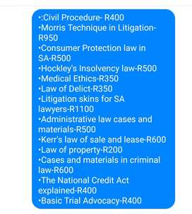 Law textbooks for sale.