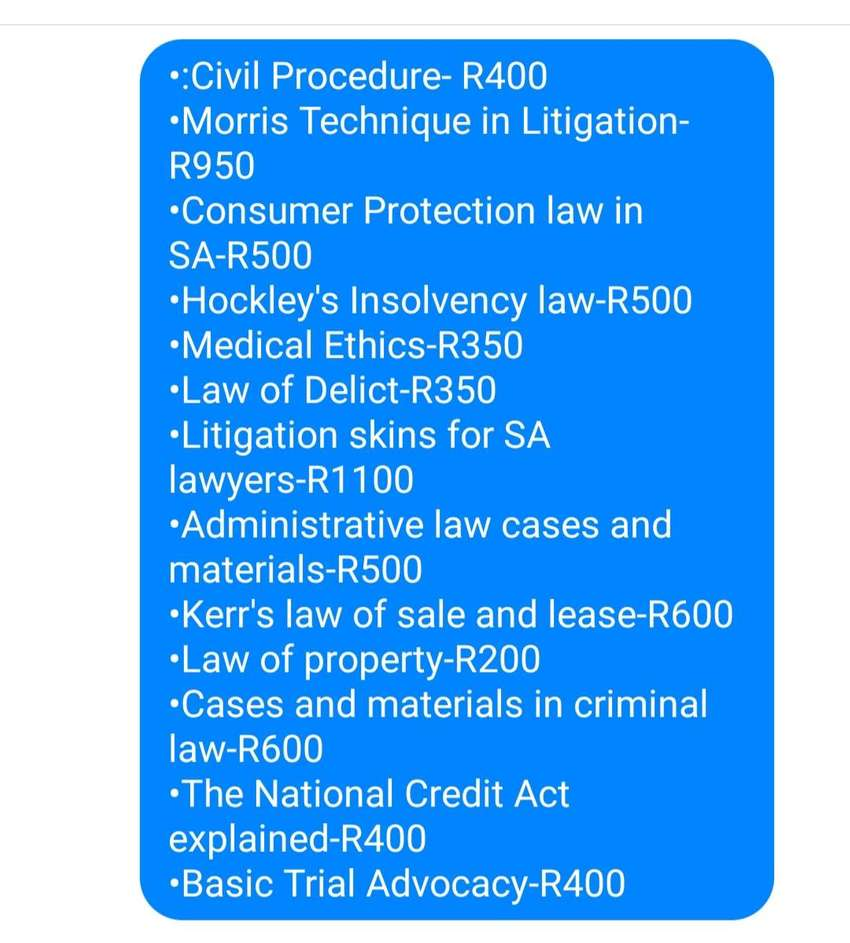 Law textbooks for sale. 0