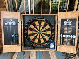 Spalding Dart Board in Cabinet with Accessories