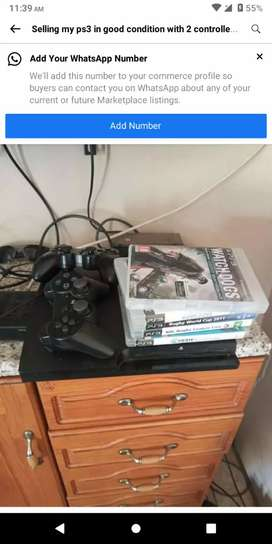 Playstation 3 with a few games comes with 2 controllers