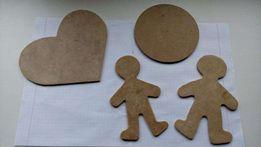 Заготовка-шаблон для творчества - Сердце и Круг и Кукла (материал ДВП)