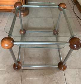 Glass, wood and metal side table.
