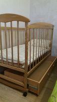 Кровать, кроватка наталка с ящиком ольха светлая с матрасом кокос