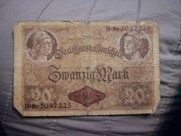 20 marek 1914 wojenny banknot oryginalny antyk staroć pieniądze I WŚ
