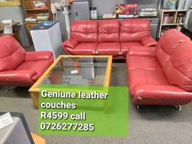 Red genuine leather couches