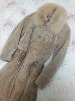 Шуба - мутон песец, пальто натуральный мех