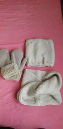 Набір шапка з хамутом і рукавицями