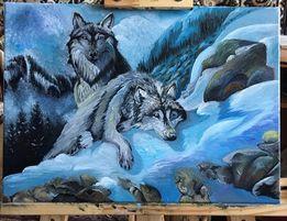 Картина маслом два вовка олія на полотні малюю на замовлення
