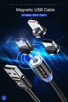 iPhone/USB-C/microUSB Kabel Magnetyczny CAFELE 3w1 LED