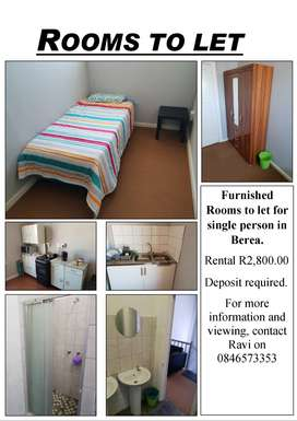 Furnished Rooms to let for single person in Berea.