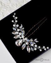 Ozdoba do włosów DIAMOND stroik kok wpinka grzebyk ślubny kryształowy