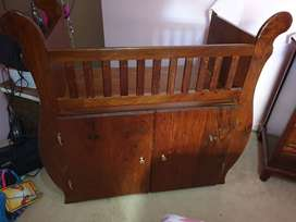 Wooden Baby Sleigh Cot with cabinet - Solid Kiaat Wood