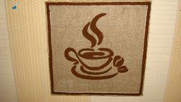 Картина с молотого кофе для кофейни, кафе.