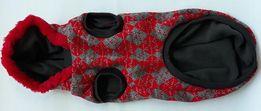 Czerwony świąteczny sweterek z kapturem