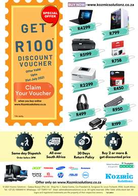Get R100 discount voucher once you register with us