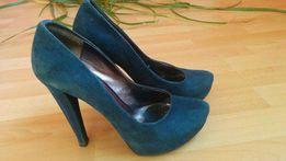 Замшевые синие туфли на каблуке Basconi 38/39
