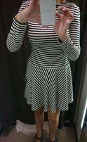 Sukienka Zara marynarska biało-granatowa paski pięknie leży