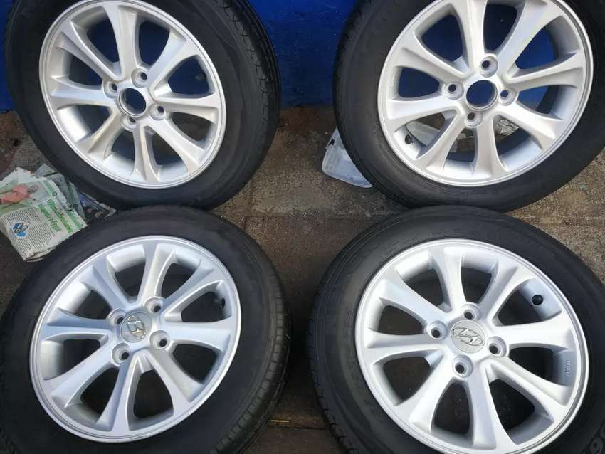 A set of 14inch mags and tyres for Hyundai i10