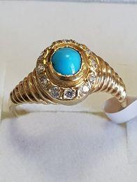 złoty pierścionek z turkusem r.13 lombard Gdynia