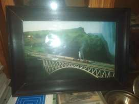 Train old,  framed picture