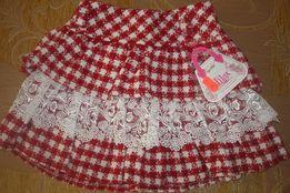 Тёплая юбка с рюшами на подкладке, 98 р.,шерсть. Турция