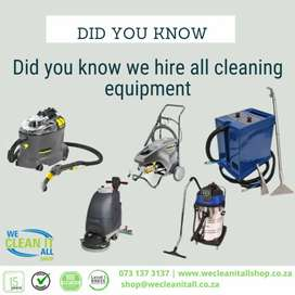 Cleaning equipment for hire