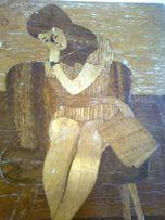 "Картины на дереве ,,Девушка,, + ""Роза"" + ""Котик"", фанировка, СССР"