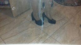 Czarne błyszczące pantofle damskie rozmiar 39