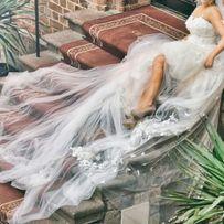 Suknia ślubna Patrycja Kujawa tren welon kwiaty motyle