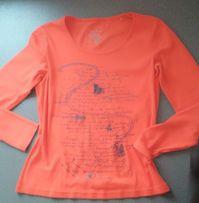 pomarańczowa bluzka Tom Tailor z napisami N 38 długi rękaw