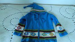 Super Sweter kurtka etno LAMA Ekwador 100% wełna LAMY unikat ! XL CUDO