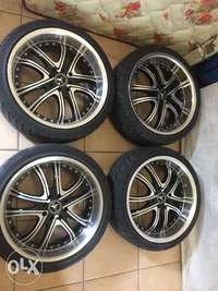 """Image of 17"""" rims including tyres."""