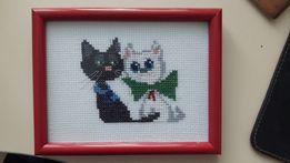 """Картина, """"Два кота"""" вышитая крестом"""
