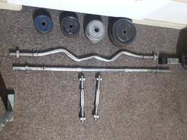 Home Gym + Bench Press + Dumbell bars + longbars + weights For Sale