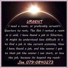 I am looking for a room or servant's quarters to rent in Silverton