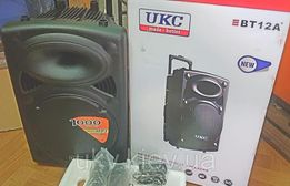 "Колонка Аккумуляторная 12"" UKC BT12A Блютуз 2 микрофона USB FM 1000 Вт"