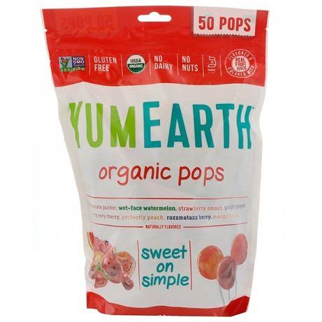 Конфеты YumEarth, Органические леденцы, 50 шт, 349 г, чупа-чупс