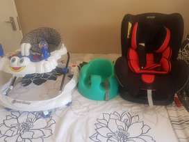 Car seat, walking ring and baby chair