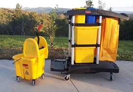 RUBBERMAID COMMERCIAL JANITORIAL CLEANING CART AND WAVEBREAKER BUCKET