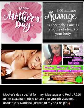 Mothers  day massages and pedicure etc.. also mobile to come to you