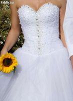 Suknia Ślubna Biała perełki kryształki