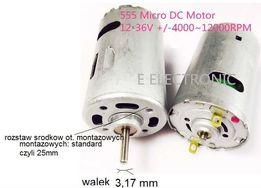 SILNIK ELEKTRYCZNY klasy 550 12V -36V 3,17mm obroty 4000 do 12000 rpm